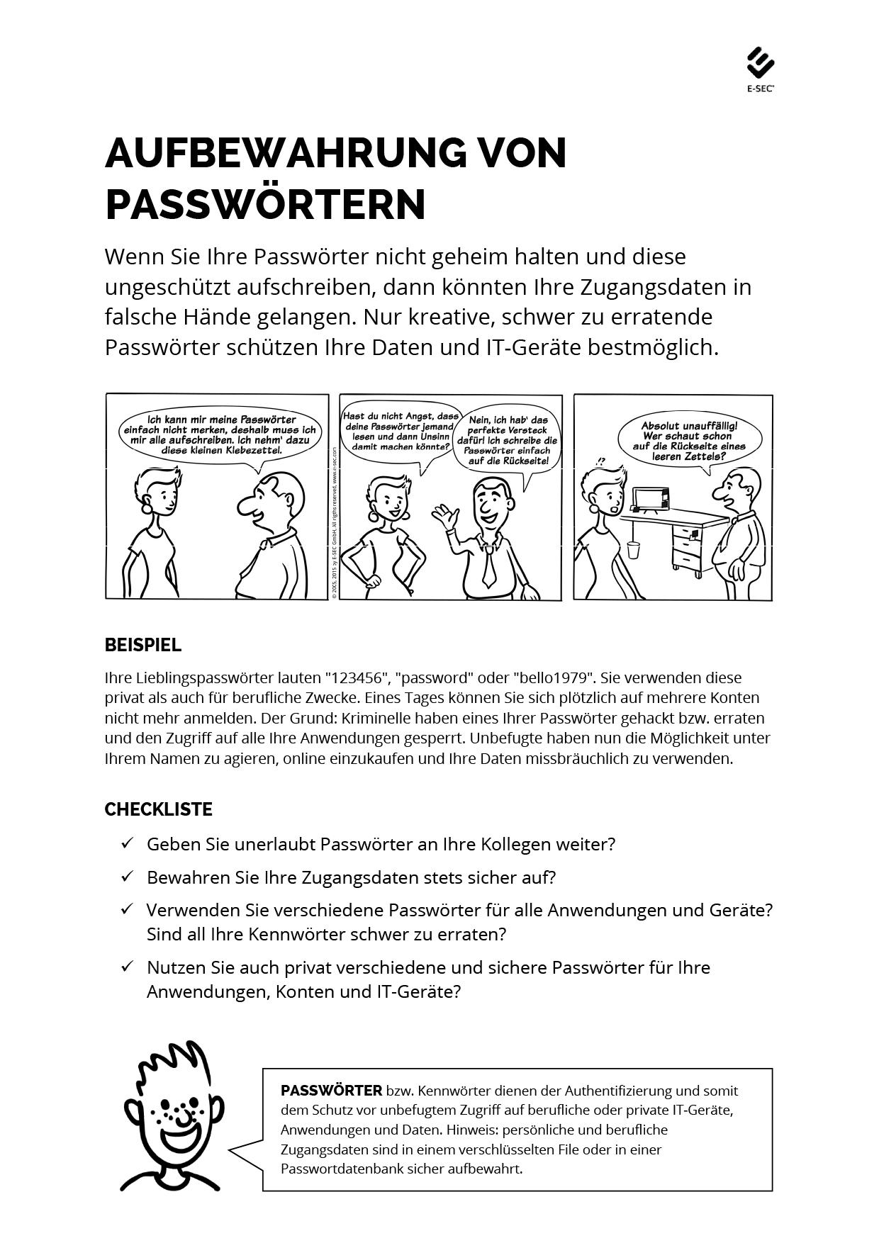 Aufbewahrung von Passwörtern