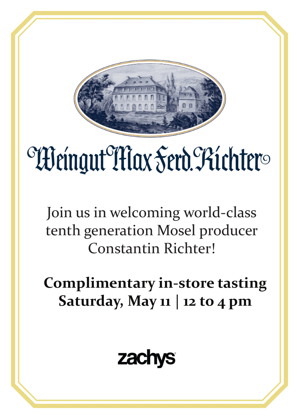 Richter Riesling's tasting event 5x7 face-plate poster, yellow double border