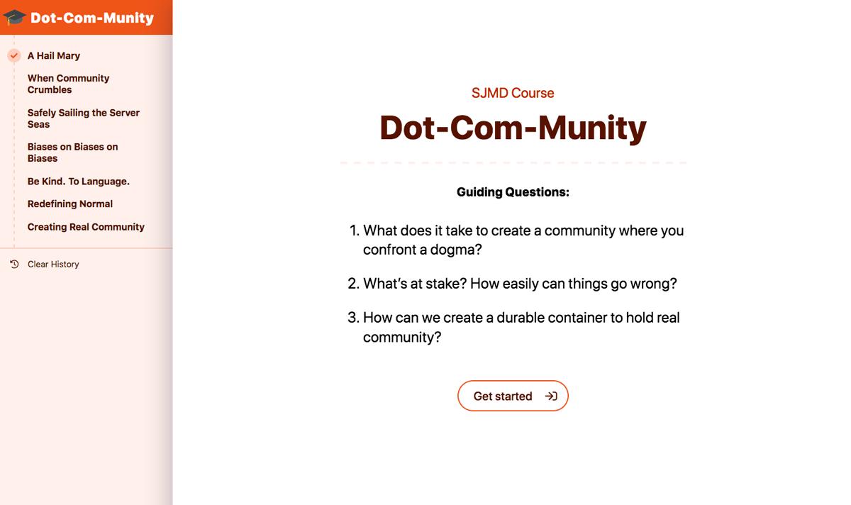 SJMD Course Module 1 screenshot: Dot-Com-Munity