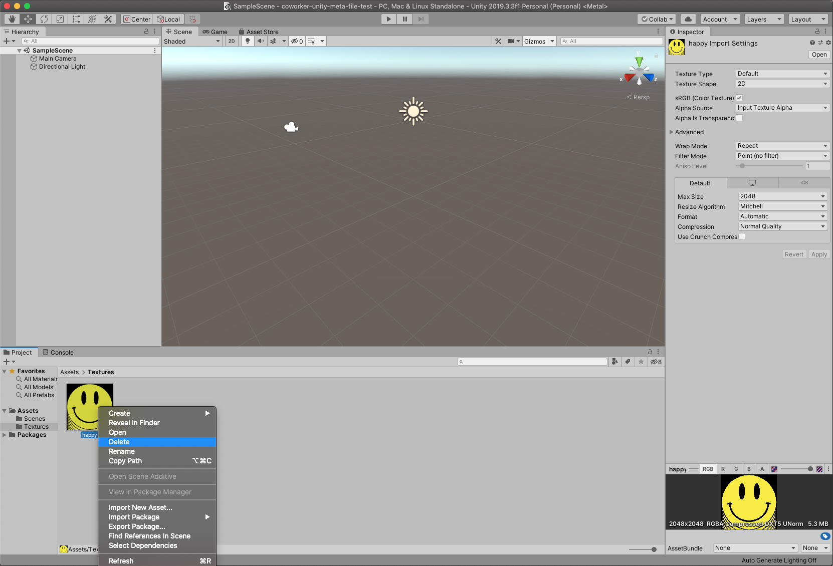 Deleting an Asset in the Unity Editor