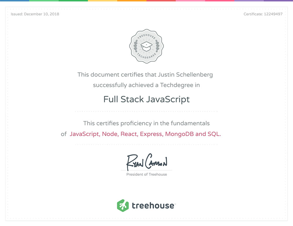 Fullstack Developer Certification for Justin Schellenberg