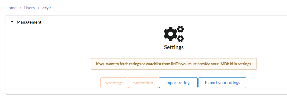 Menu for importing titles from file or syncing data with IMDb's account