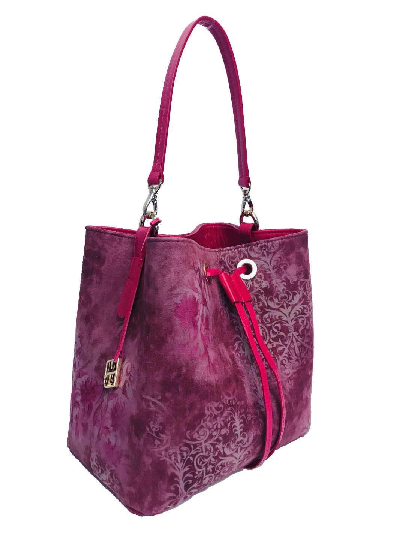 Alya Bucket Small Textile - violet ornament pattern