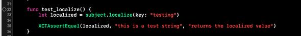 An example of a test using plain XCTest