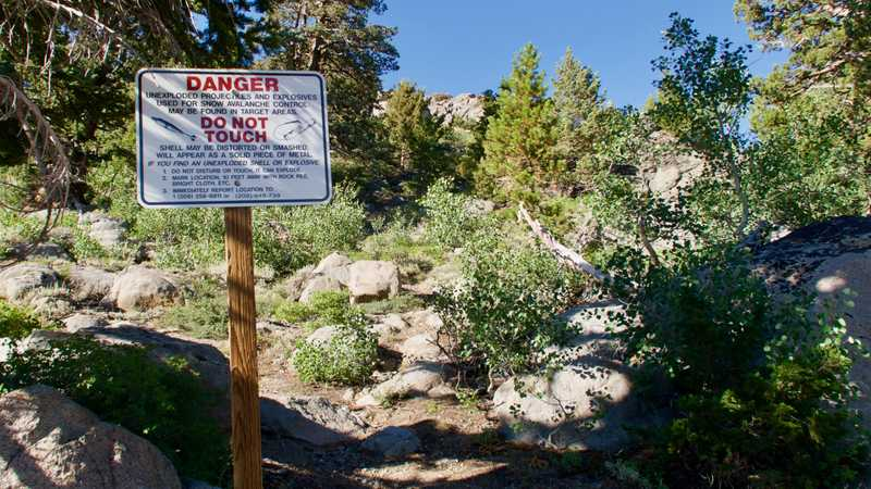A warning sign about avalanche explosives