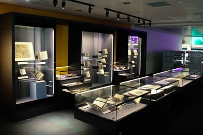 A photo showing an overview of the Rare Collection Gallery, with various showcases.