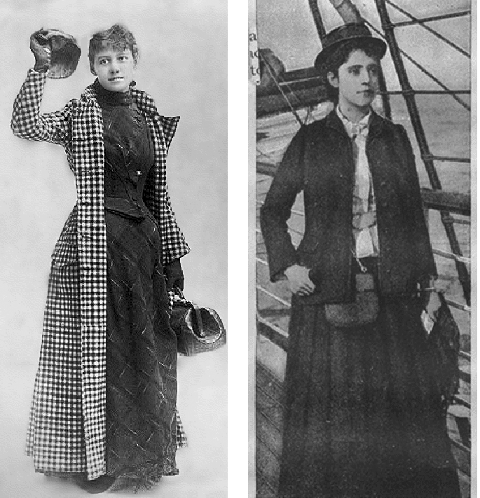 black and white photos of nellie bly and elizabeth bisland in their traveling clothes