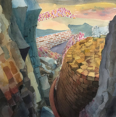 watercolour painting of Martello walls in almost Cubist style