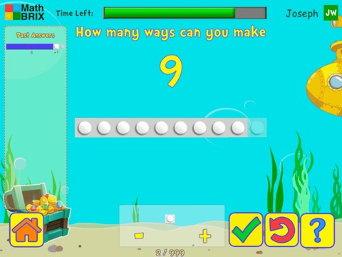 Addition combinations up to 10 using brix Math Game