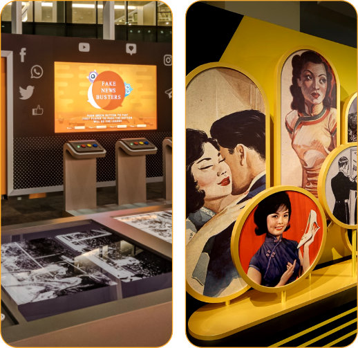 The National Library hosts permanent, special and online exhibitions that feature our rich collections and bring to life the history and heritage of Singapore and the region. Held at various locations in the National Library building, admission to our exhibitions are free. <p> </p> <p>Explore this site to find out more about our current and upcoming exhibitions and programmes. Visit our Online Exhibitions to enjoy virtual tours of past shows and access specially curated digital content.</p>