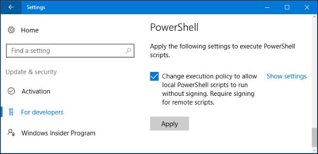 Unapplied settings to run ps script