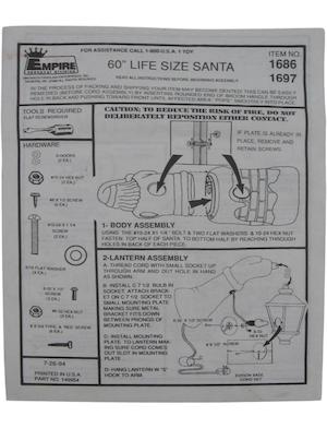 Empire Life Size Santa #1686, 1697 Instruction Manual (1994-07-26).pdf preview