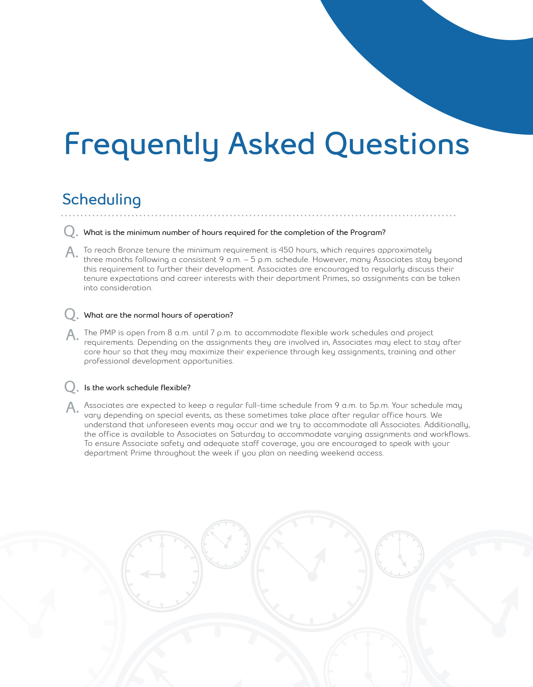Orientation Manual FAQ Page