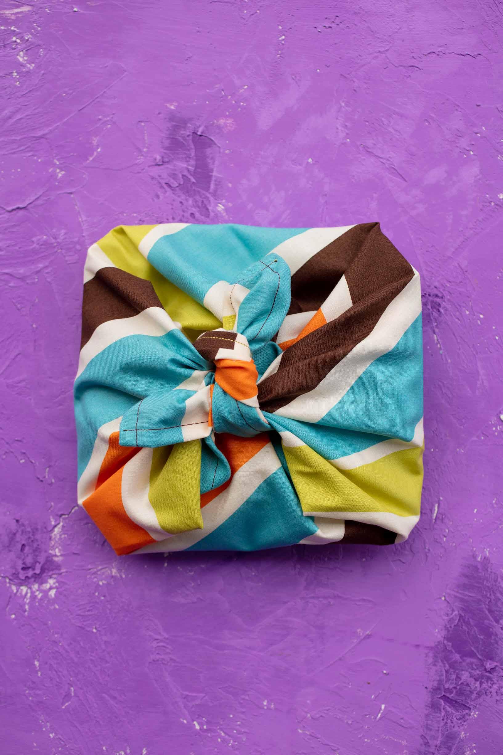 vegan mac n cheese kit wrapped in a furoshiki