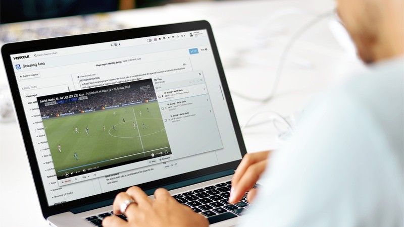 Wyscout Scouting Area dashboard featuring player match videos