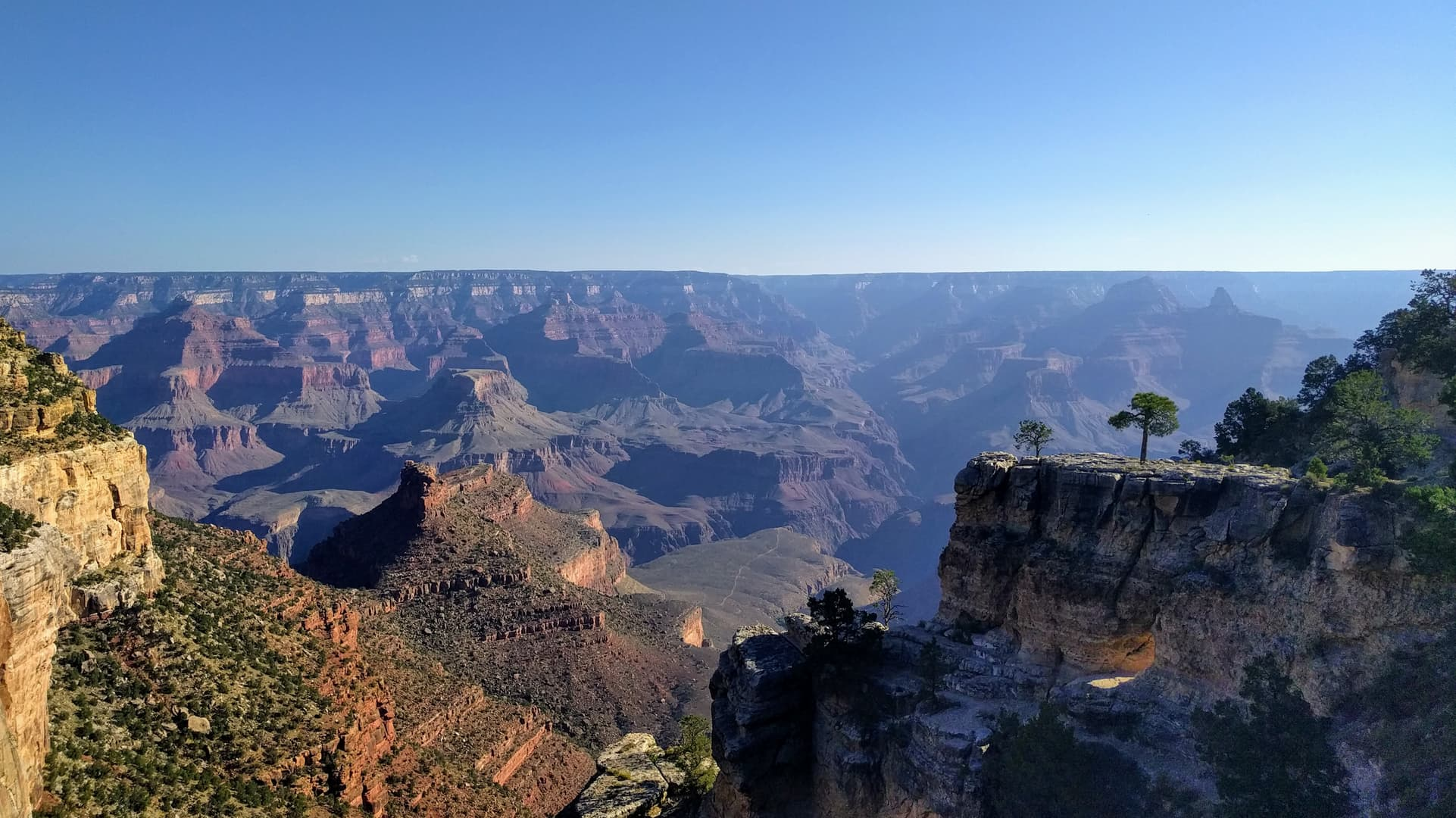 A view across the Grand Canyon. Morning fog partially obscurs the far side. In the foreground, part of the South Rim juts into the Canyon, forming an island-like structure. Small trees grow on it.