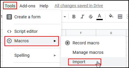 Select Tools, Macros, Import