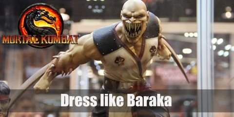 A hybrid of two supernatural beings, Baraka has a very distinct look that will keep anyone up at night. He has a frighteningly big mouth with multiple fangs. He wears a white tank top lined with red and a pair of black pants. On both his arms, he sports on curving twin blades.