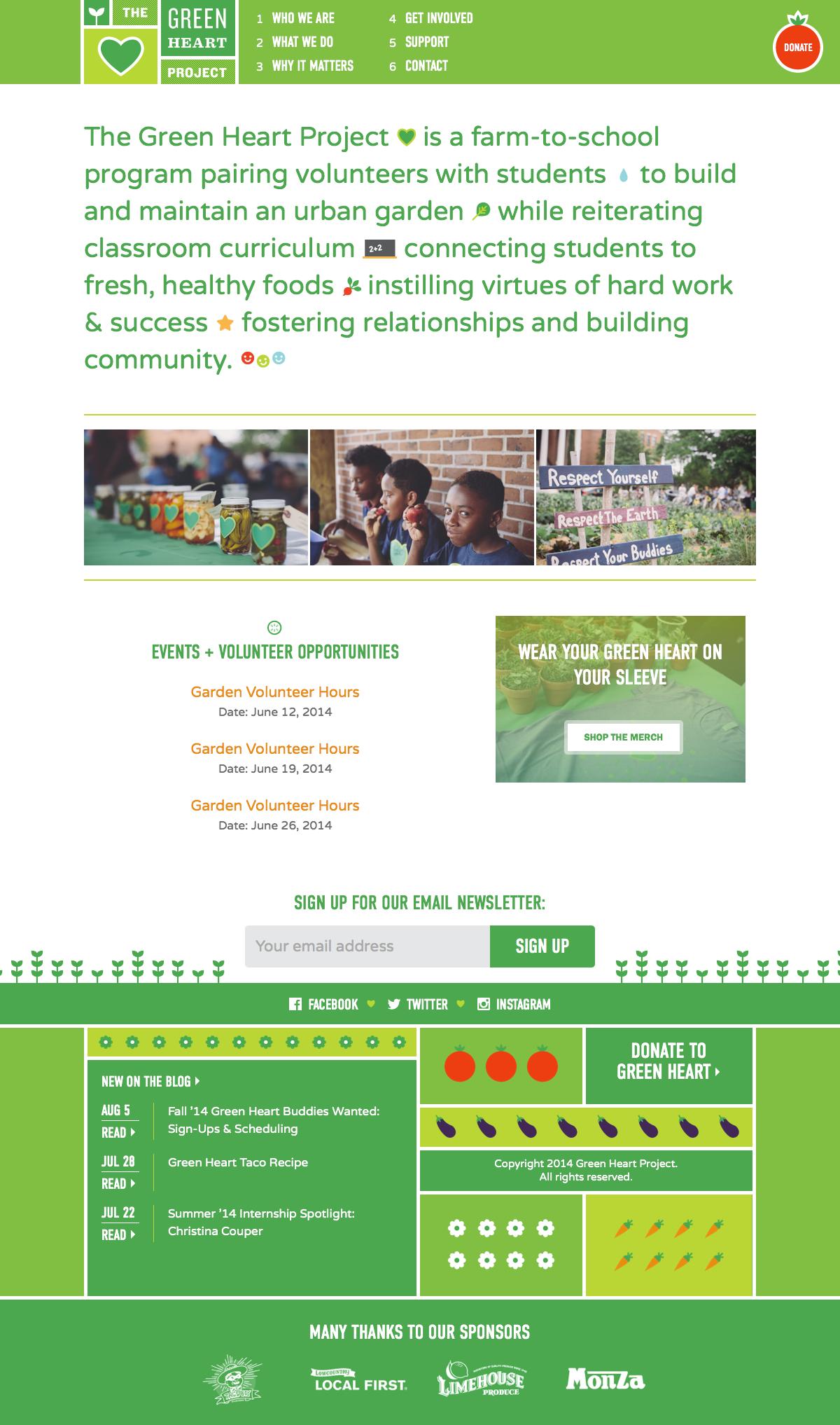 A screenshot of The Green Heart Project website