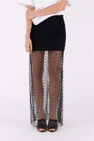 Beaded Long Skirt, Black