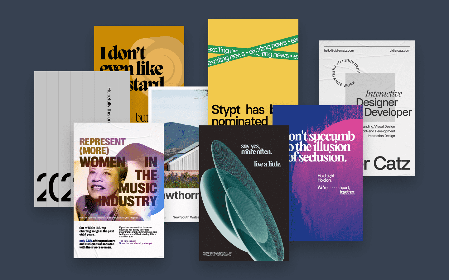 A collection of digital posters.
