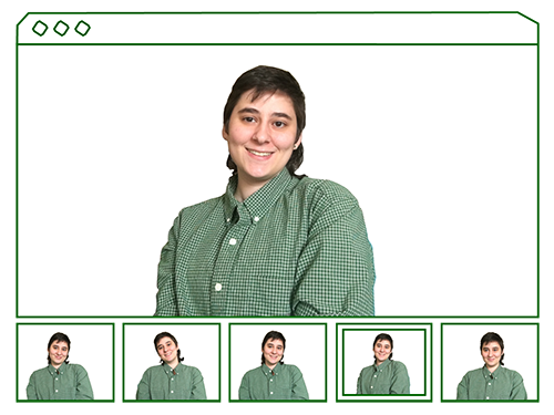 picture of me smiling, there is a panel of five other images below the large one, mimicing a photobooth