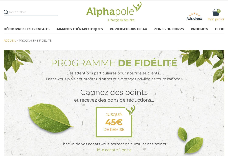 programme de fidélité Alphapole