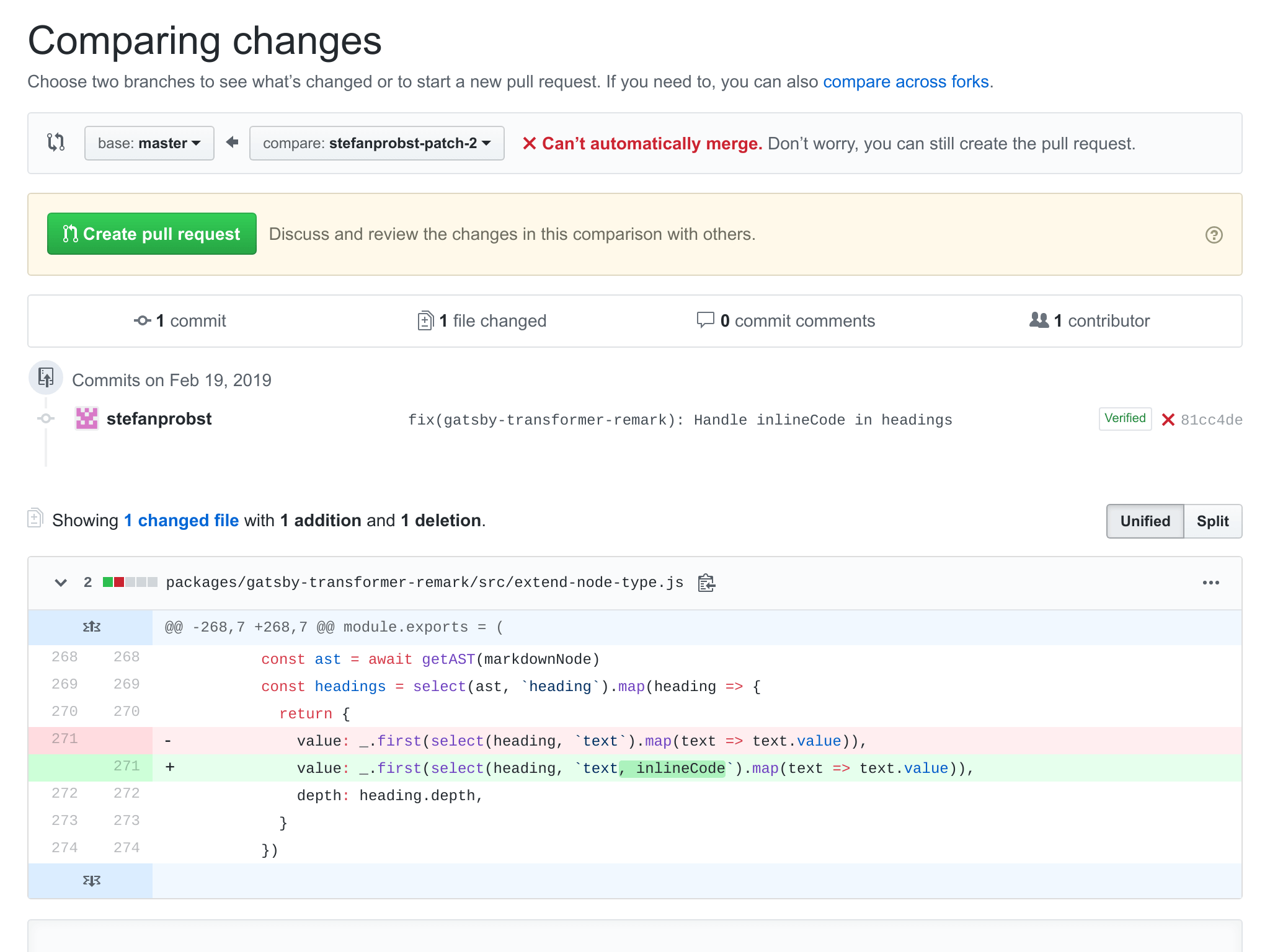 Gatsby GitHub Example Pull Request