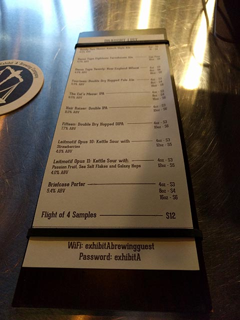A menu of the types of beer that Exhibit A Brewing creates