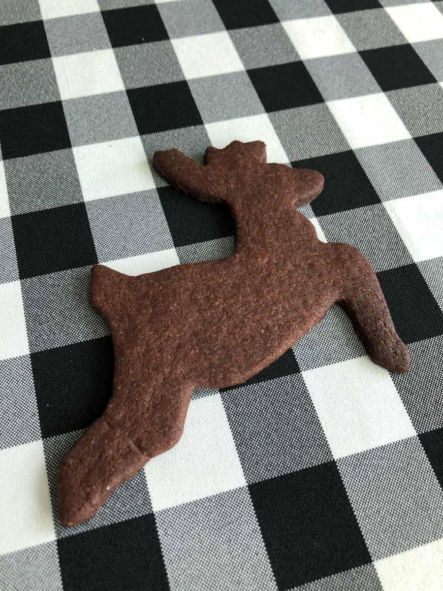 vegan chocolate reindeer cookie