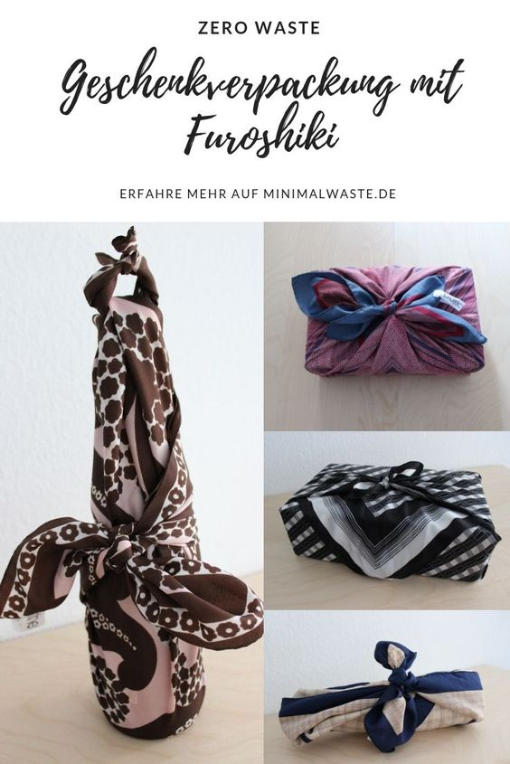 Pinterest Cover zu 'Furoshiki Tücher als Zero Waste Geschenkpapier'