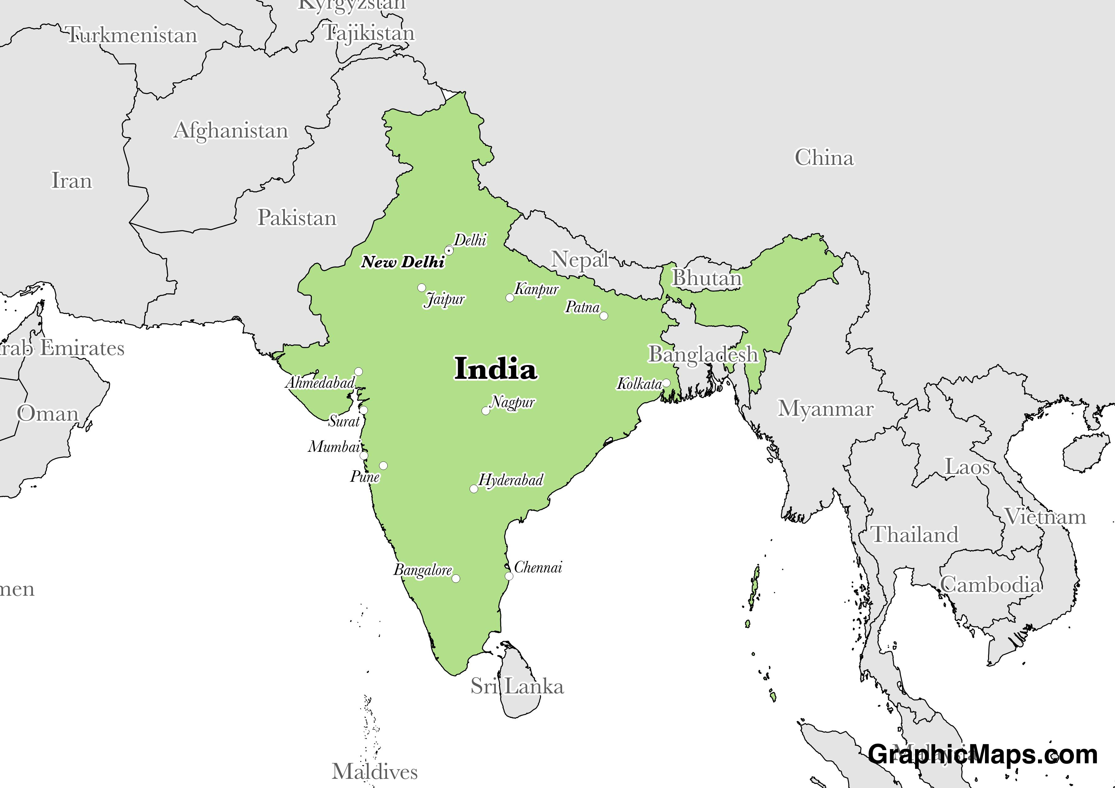 Map showing the location of India