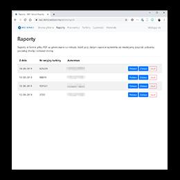 Web admin panel reports list screen.