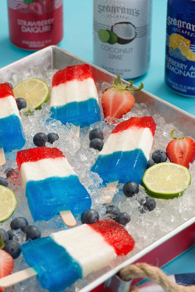 Red White & Blue Layered Ice Pops Image