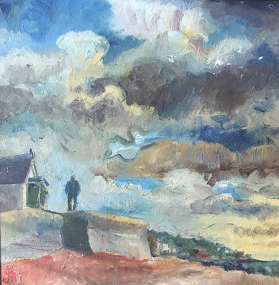 painting of Sandgate seawall and sky from below on the beach