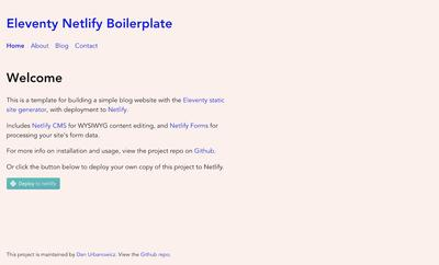 Screenshot of a page created with Eleventy + Netlify CMS Boilerplate