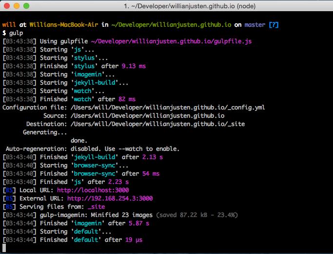 Imagem mostrando o processo do Gulp no terminal