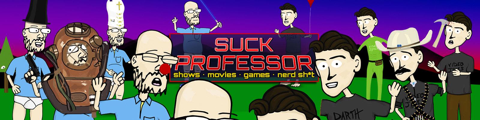 SuckProfessor YouTube channel banner artwork featuring Hank and James