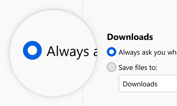 Usage Example of Radio Buttons as used in Firefox Options