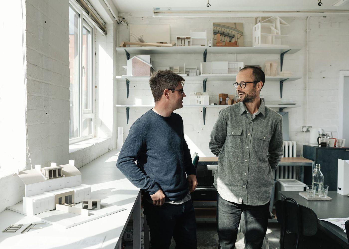 From Works directors Darren Hancock and Adam Eckworth standing in From Works Sheffield studio.