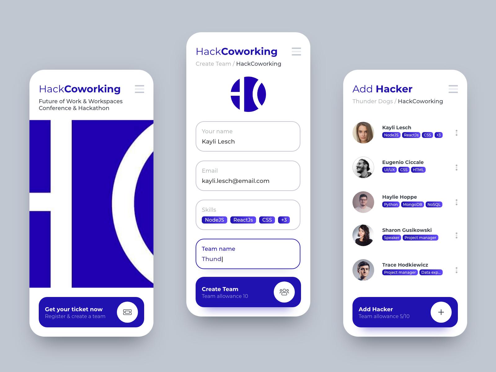 Hackathon coworking app