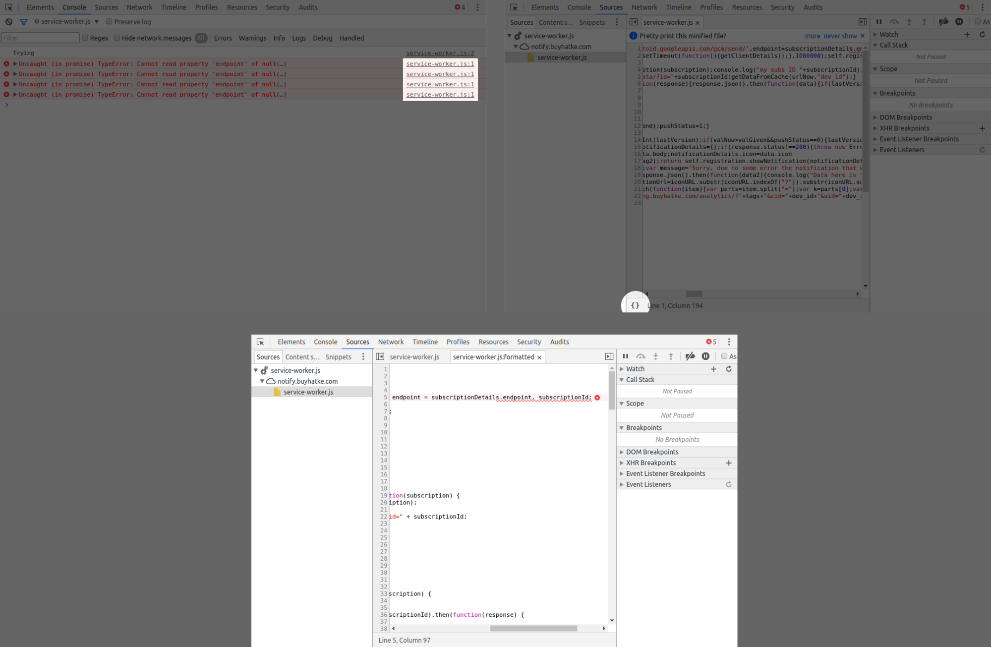 Formatting Minified Code in Devtools