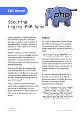 Securing Legacy PHP Apps