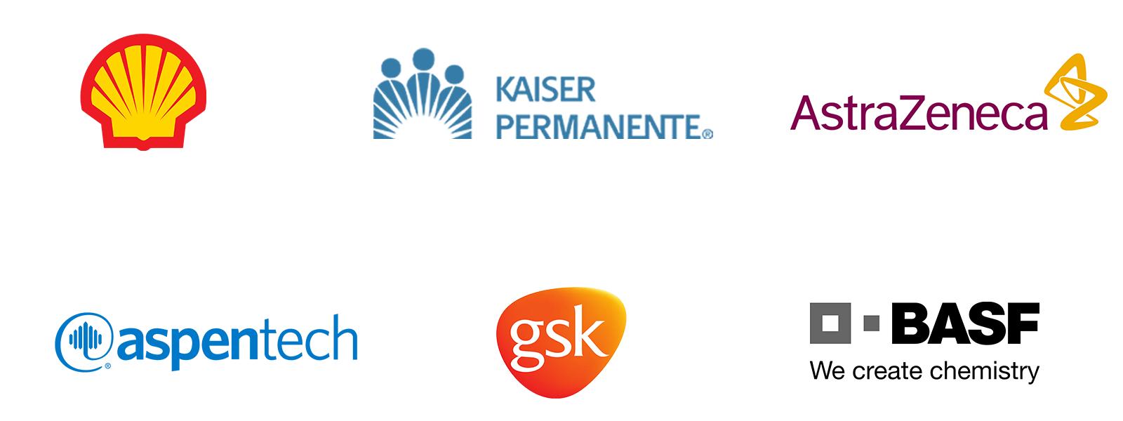 Logos of Shell, Kaiser Permante, AstraZeneca, Aspen Technology, GlaxoSmithKline, and BASF