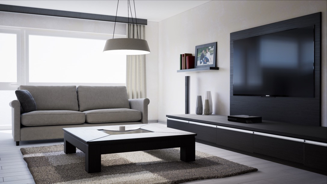 Interactive architectural visualisation of a living room.