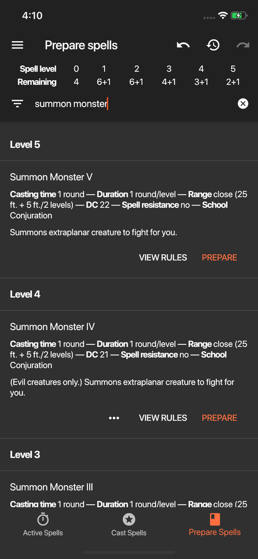 Spell Tracker for Pathfinder 1e screenshot showing the prepare spells screen