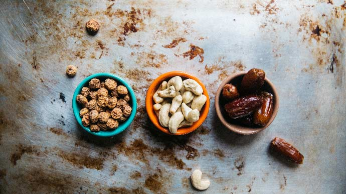 bowls of healthy nuts