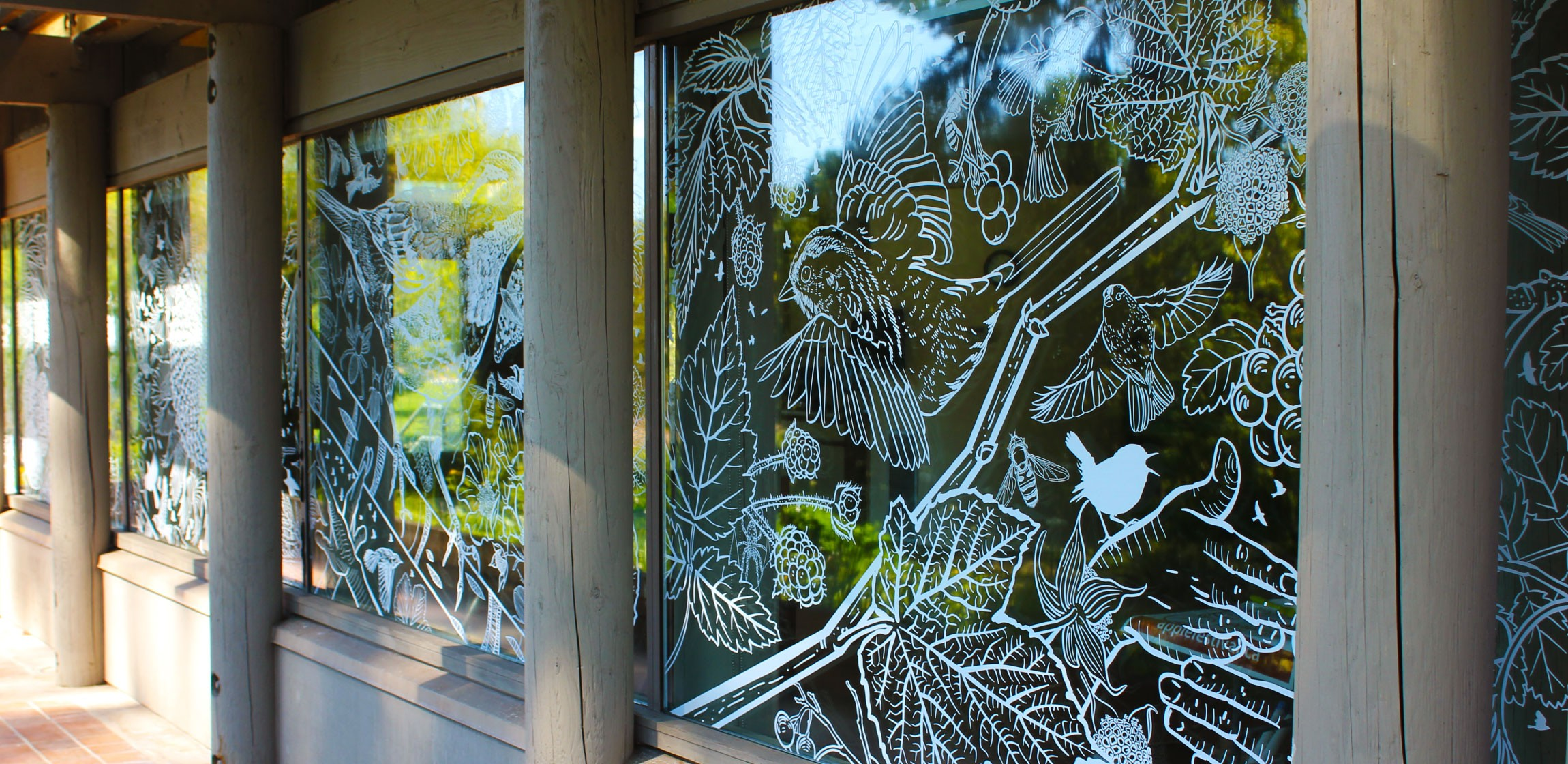 Windows at the UBC Botanical Gardens, which have been covered in artistic decals to prevent birds from flying into them