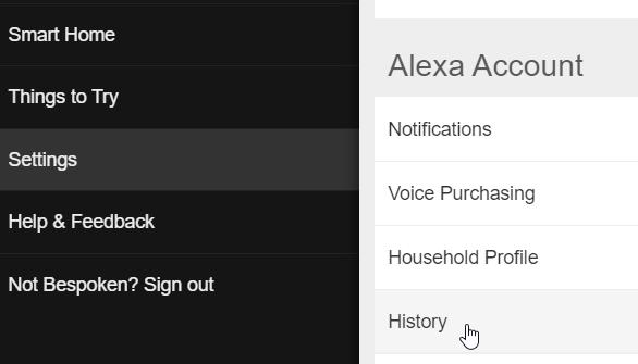 Alexa interactions history