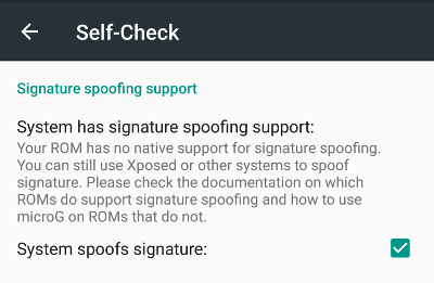 MicroG Self Check on patched LineageOS with spoofing checked.